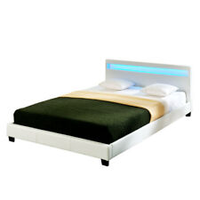 Design LED Doppelbett Polsterbett 140x200cm Bettgestell bett weiß Bettrahmen