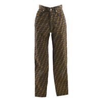 FENDI Zucca Pattern Long Pants Brown Black Italy Authentic 39909