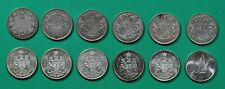 Canada, 50 cents, 12 silver half-dollars, 1912,1937,1945-1947,1950,1962-1967