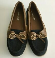 American Eagle Women's Boat Shoes Size 11 Blue Denim Taupe Slip Ons w/ties