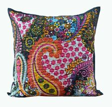 """Ethnic Paisley Printed Indian Cotton Kantha Pillow Cover Throw 16"""" Cushion Cover"""