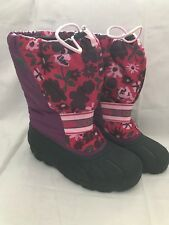 Sorel Size 6 Purple Pink Floral Insulated Boots Women's Youth