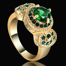 Size 7 Gold Rhodium Wedding Ring Engagement Emerald CZ Gemstones Princess Halo