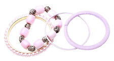 4 Pack -blush Pink Pearl, Candy Pink Bracelet & Purple Metal Bangles(Zx129)
