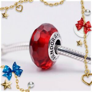 🌹Pandora Murano Glass Charm Red Faceted Bead S925 ALE 791066 New🌹