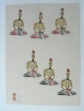 "Nenjiro Inagaki Limited Edition Wood Block Print ""6 Figures""; 66/300 c: 1965"