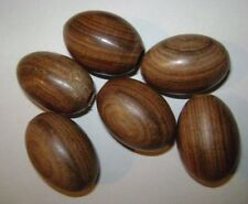 6 walnut oval light pulls or cord pulls 4cm long made in Mid Wales