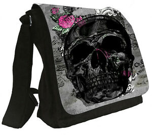 Damenhandtasche Schultertasche Tasche Totenkopf Tattoo Umhängetasche #848