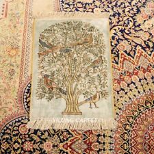 YILONG 1.2x1.7' 300L Tree And Birds Handcraft Silk Rug Carpets Tapestry LH691A