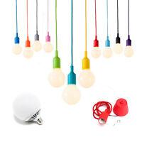 Pendente colorato cavo telato lampadina led globo lampadario sospensione minimal