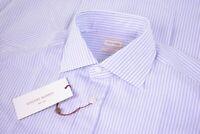 NWT Luciano Barbera Size Medium Dress Shirt New Blue & White (Purple Appearance)
