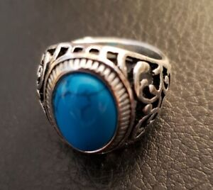 Stainless Steel Intricately Carved Band Turquoise Oval Man Made Unisex Gem Ring