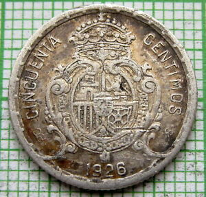 SPAIN ALFONSO XIII 1926 50 CENTIMOS, SILVER PATINA microscratches