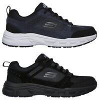 SKECHERS OAK CANYON 51893 scarpe uomo sportive sneakers camoscio memory nero blu
