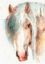 A3 Watercolor Painting Horse Farm Watercolour Fresh Canvas Print