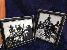 2 Deer Elk Bear Cub Tree Cut Out Silhouette Picture Frames