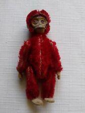 "RERE 1920's-30's Red 3.5"" German Mohair Schuco Monkey Perfume Bottle Holder"