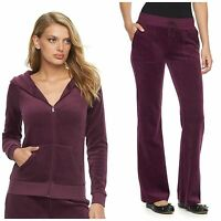 NWT JUICY COUTURE Tracksuit Women Velour Solid Jacket Bootcut Pants XS S L XL