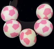 19-20mm Handmade Polymer Clay Round Pendant Beads - Pink Mosaic