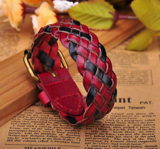 G259 Red Cute Plait Charm Cool Leather Wrap Bracelet Cuff Wristband NEW