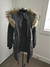 Down and feather long black parka coat with coyote fur hood