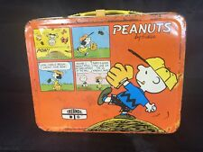 """Vintage Lunchbox """"Peanuts"""" By Charles Schulz Thermos Brand 1963 Some Rust Good P"""