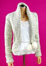 JUICY COUTURE Cardigan Sweater SMALL White Metallic Gold Fluffy Pom Poms Knit
