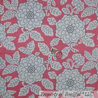 BonEful Fabric FQ Cotton Quilt VTG Pink Cream Purple Gray BOHO Girl Retro Flower