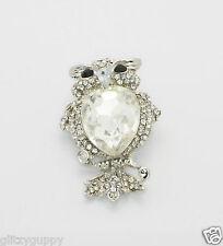 Crystal Owl Pin Brooch Coat Pendant with Black Eyes