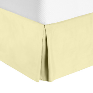 "Luxury Pleated Tailored Bed Skirt - 14"" Drop Dust Ruffle, Queen - Vanilla Yellow"