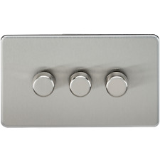 SCREWLESS 3G GANG 2 WAY 40-400W DIMMER LIGHT SWITCH - BRUSHED CHROME