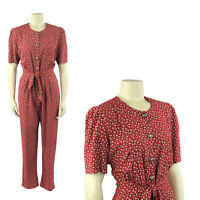 Vintage 90s Soft Rayon Red Grunge Ditsy Floral Print Puff Sleeve Jumpsuit M
