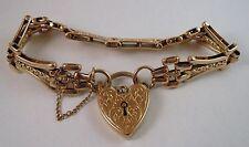 100% Genuine Vintage 9K Solid Yellow Gold Gate Padlock Bracelet