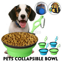 Outdoor Portable Collapsible Pets Dogs Cats Silicone Food Water Feeding Bowl L