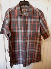 Men's Foundry Big & Tall Button Front Dress Shirt Hot Coal Plaid Size  LT New
