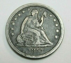 """1857 P US Seated Liberty Sliver Quarter """"Nice Higher Grade Coin"""""""