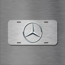Mercedes Benz Vehicle Logo Black Aluminum License Plate Auto Car New BRUSHED