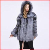 Luxus Damen Fuchspelzmantel Kurz Jacke Outwear Warm Kapuze coat party outwear