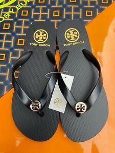 NWT Tory Burch PVC Thick Flip Flop Flops Thong Sandals Black Logo MANY SIZES