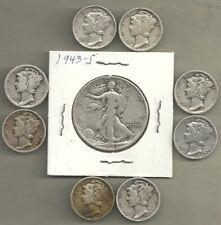 Walking Liberty Half & Mercury Dimes - 90% Silver - 9 Coins #4771 - All S Mint