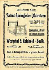 Westphal & Reinhold Berlin PATENT-SPRINGFEDER-MATRATZEN Historische Annonce 1901