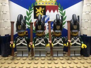 LEGO 4x Bavarian Kinkel 7th Light Infantry Fusiliers 1811 w/ Raupenhelm Helmets