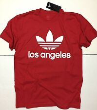 RARE adidas Original Los Angeles Red Trefoil Crewneck Size MEDIUM T-Shirt Men