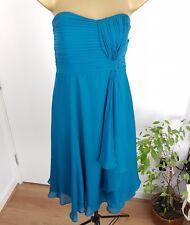 COAST Dress Strapless Silk Ruffle Teal Size UK 12 Occasion