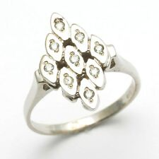 New 14k white gold DIAMOND ring Vintage Reproduction Art Deco flat RHR