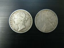 2 x British India One Silver Rupees 1840 & 1862
