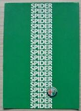 ALFA ROMEO SPIDER Car Sales Brochure 1986 FRENCH TEXT #F/NL 863203