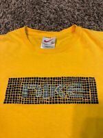 Vintage Nike 90s White Tag Yellow Tee Shirt Sz L RARE! Look!