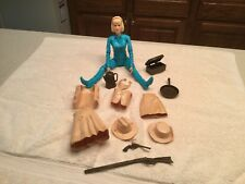 Vintage Louis Marx  Action Figure Jane West  Blue  W/ Accessories Hats Rifle