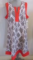 NWT BETHANY WOMAN GREY & CORAL GEOMETRIC  PRINT SLEEVELESS DRESS